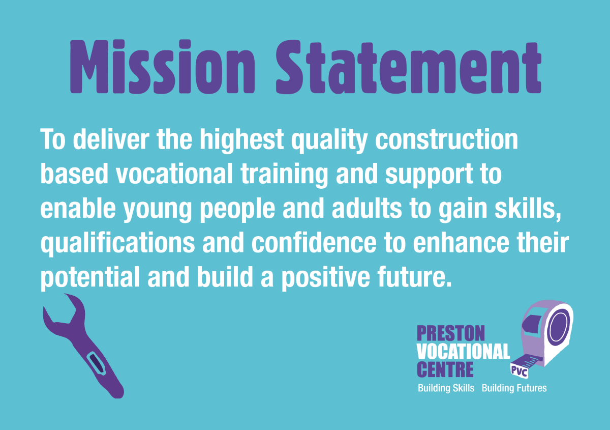 MISSION STATEMENT - To deliver the highest quality construction based vocational training and support to enable young people and adults to gain skills, qualifications and confidence to enhance their potential and build a positive future.